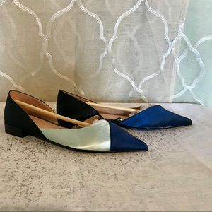 Zara navy and light blue satin flats size 6